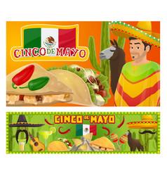 cinco de mayo sombrero cactus and mariachi guitar vector image