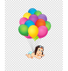 Clip art with cute baby in pilot hat falling down vector