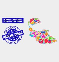 Collage tools tiran island map and grunge hainan vector