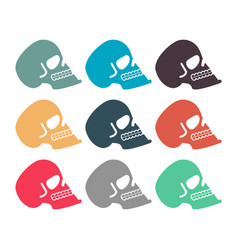 colored skull set multicolored skeleton head vector image
