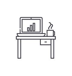 computer desk line icon concept computer desk vector image