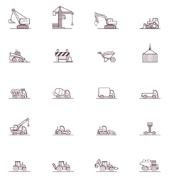 Construction machinery icon set vector image