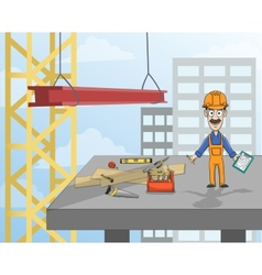 Construction worker on platform vector