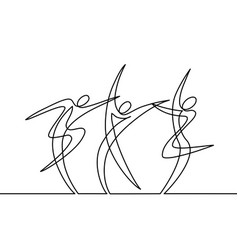 Continuous line drawing abstract dancers vector