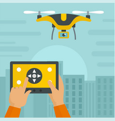 Control drone on pad background flat style vector