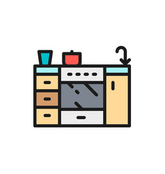 Cooker furniture for kitchen flat color line icon vector