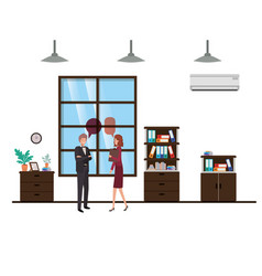 couple business with speech bubble avatar vector image