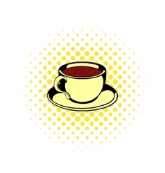 Cup of tea icon comics style vector image