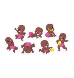 Cute baor toddler poses set vector