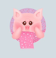 cute little pig with red cheeks with pink scarf vector image
