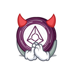 Devil augur coin mascot cartoon vector