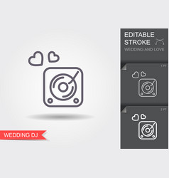 Disk jockey turntable line icon with shadow and vector