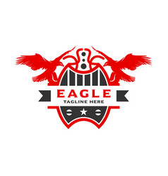 eagle shield logo design template vector image