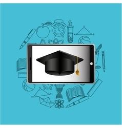 education online concept graduation cap icon vector image