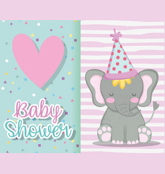 Elephant wearing hat to invitation baby shower vector