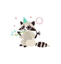 flat raccoon character having fun whistling vector image