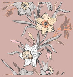 floral vertical seamless border with hand drawn vector image