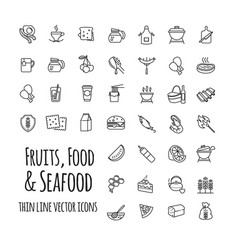 fruits food and seafood outline icons set vector image
