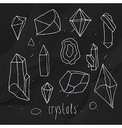 Geometric polygonal crystals Black vector