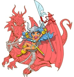 Girl Dragon Rider vector