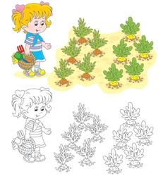 Girl in a vegetable garden vector