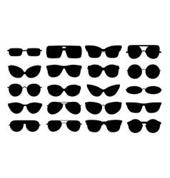 glasses silhouettes isolated black elegant vector image