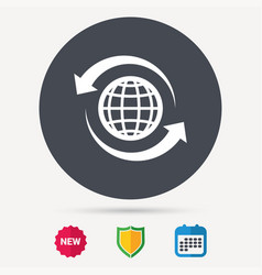 globe icon world or internet sign vector image