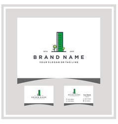 Green city logo design and business card vector