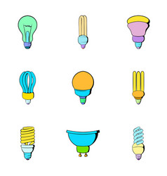 Halogen icons set cartoon style vector