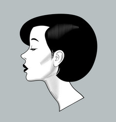 head half face a beautiful young woman with vector image