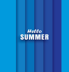Hello summer white text on abstract blue wave vector