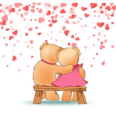 hugging teddy bears sitting on wooden bench vector image