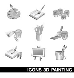 Icon set painting 3d vector