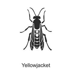 Insect yellowjacket iconblack logo vector