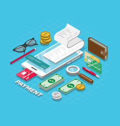 isometric online payment online concept internet vector image