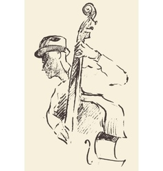 Jazz poster double bass music acoustic consent vector