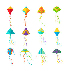 kites set geometric colored devices for launching vector image