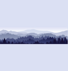 landscape with fog forest mountains and sunlight vector image