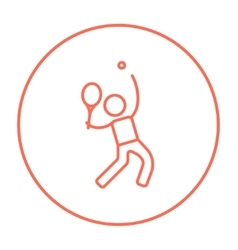 Man playing big tennis line icon vector image vector image