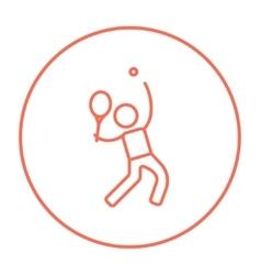 Man playing big tennis line icon vector