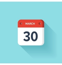 March 30 Isometric Calendar Icon With Shadow vector image