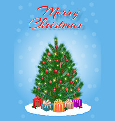 merry christmas greeting card design in light vector image