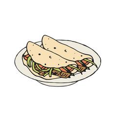 Mexican food fajita or burrito vector