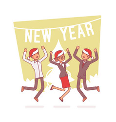 New year office party lineart concept vector