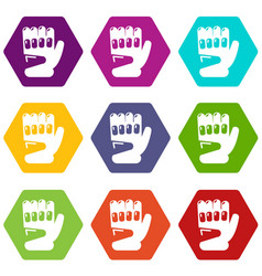 paintball sport glove icons set 9 vector image