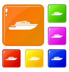 Planing powerboat icons set color vector