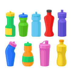 Plastic reusable water bottles set coorful drink vector