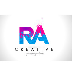 Ra r q letter logo with shattered broken blue vector