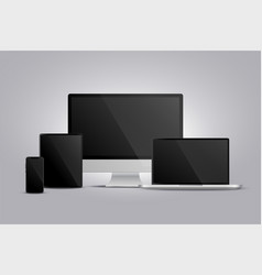realistic display monitor laptop tablet and vector image