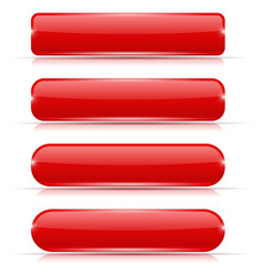 Red glass buttons rectangle and oval web icons vector